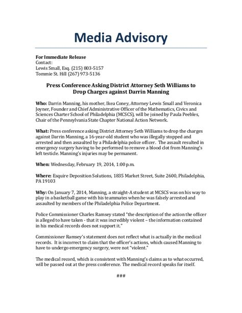 Conference Press Release Template by Media Advisory Press Conference Calling On Da Seth