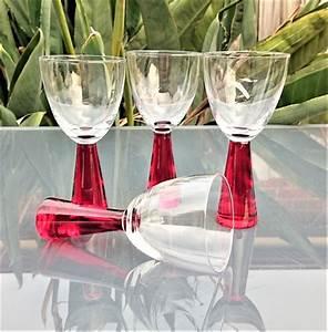 Vintage Red Thick Stem Wine Glasses Set Of 4 551c