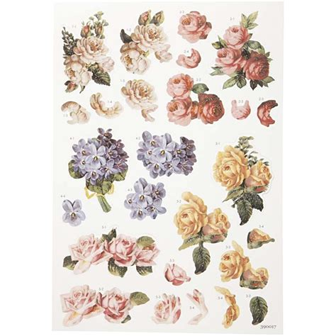 decoupage sheets  decoupage tags  cm roses