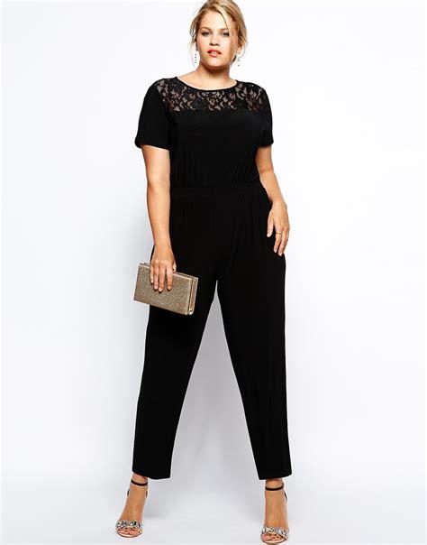 plus size jumpsuits black lace top plus size jumpsuit