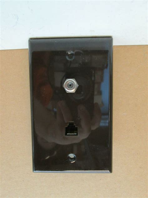 Tv Plate Premier Telephone Phone And Tv Coaxial Cable Combo Wall Plate Brown Ebay