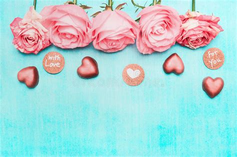 Light Pink Roses Border With Chocolate Heart And Love