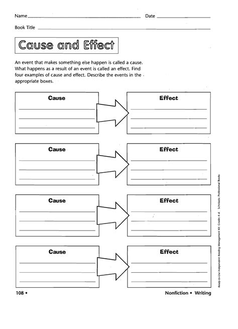 11 best images of cause and effect template worksheets