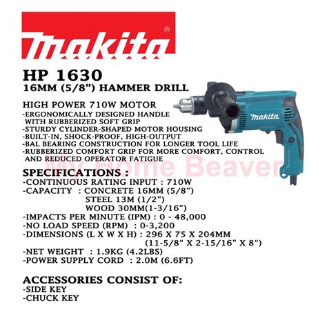 makita hp hammer drill mm bn makita 16 mm 5 8 hammer drill hp 1630 home appliances carousell