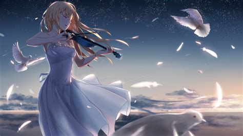 full hd wallpaper violin dove feathers tender desktop