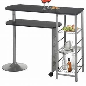 Table Haute De Bar JOSUA MDF Dcor Noir Achat Vente Meuble Bar Table Haute De Bar JOSUA MD