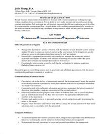 administrative assistant resume skills profile exles sle administrative assistant resume 8 exles in word pdf