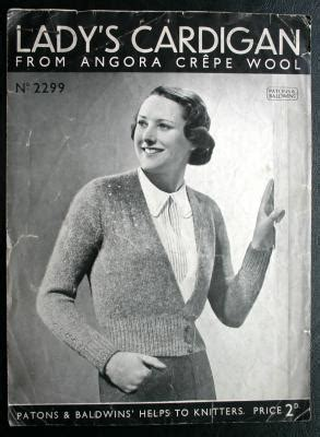 Patons & Baldwin Lady s Cardigan Knitting Pattern 2299 1930s