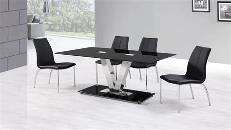 black glass dining table and 6 black dining chairs homgenies
