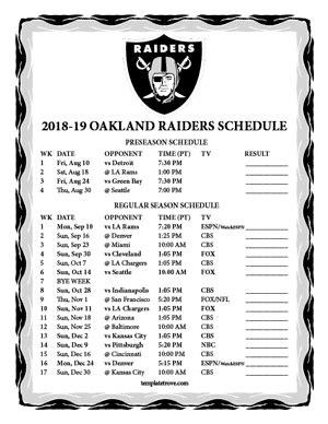 printable   oakland raiders schedule