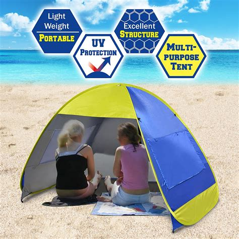 strong camel instant pop  beach tent portable canopy family sports sun shade shelter outdoor