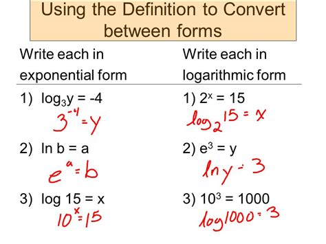 log  exponential form world