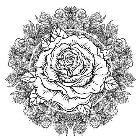 rose flower  mandala tattoo stock vector