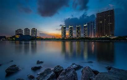 Jakarta Pantai Mutiara Indonesia Night Wallpapers Buildings