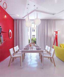 bright color small apartment decor ideas interior design With red dining room wall decor