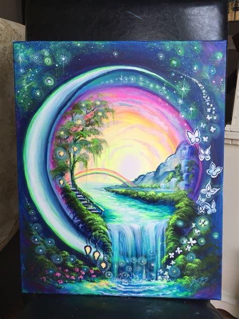 unique painting idea  world   orb  rainbow