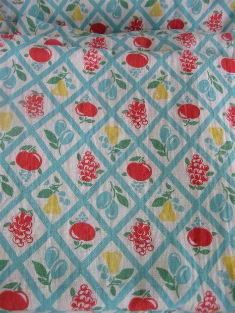 vintage curtains fabric yardage retro fruit kitchen linens
