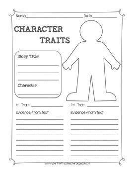 character traits graphic organizer worksheet teachin