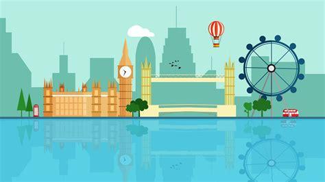 animation  london detailed skyline  space