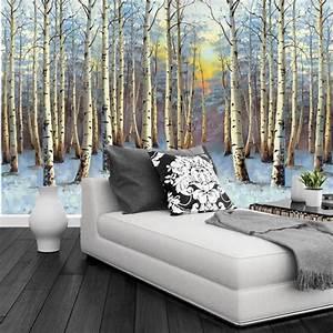 Custom 3D murals,Landscape painting poplar forest sunset ...