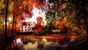 autumn, , pond, , houses, , trees, , nature, wallpapers, hd