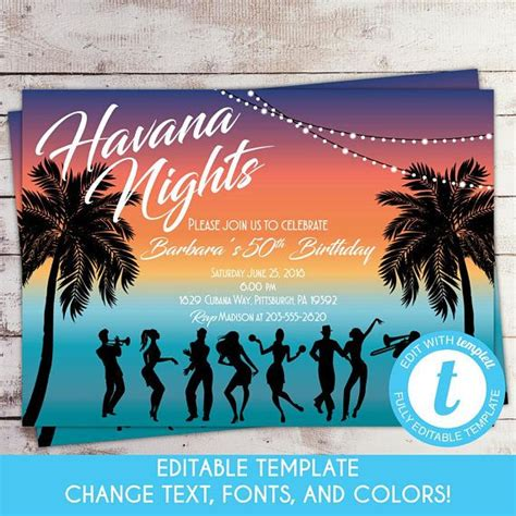 edit template havana nights birthday invitation