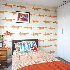 Children, U0026, 39, S, Bedroom, With, Orange, Fox, Motif, Wallpaper