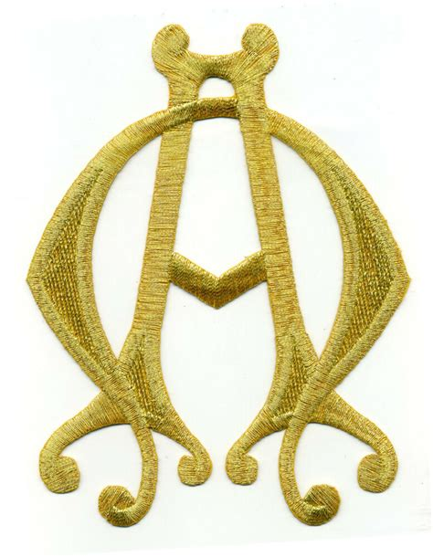 gold applique gold metallic alpha omega christian vestment embroidered