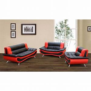 Black red modern 3 piece leather sofa set for 3 piece black modern sectional sofa