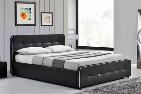 cadre de lit design capitonn 233 noir avec coffre 160 concept usine