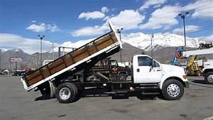 Sold  Flatbed Dump Truck Ford F750 Xl 18 U0026 39  Bed 230 H P  Cat