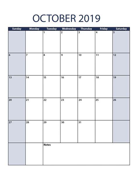 Calendar Template 2019 October 2019 Calendar Template