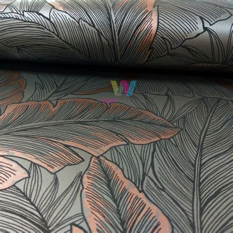 wallquest pear tree leaf pattern wallpaper modern metallic