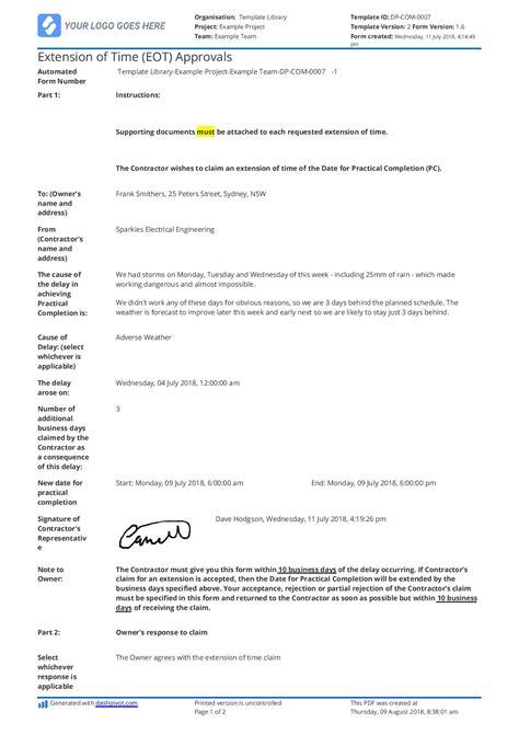 sample letter  extension  time  construction eot