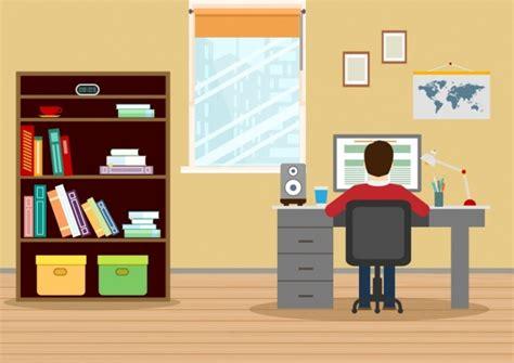 dekorasi tempat kerja menggambar rak meja manusia ikon