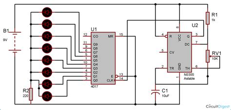 heart shaped serial led flasher circuit diagram  ic