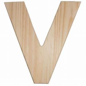 12quot natural wood letter v u0993 v craftoutletcom With wooden letter v