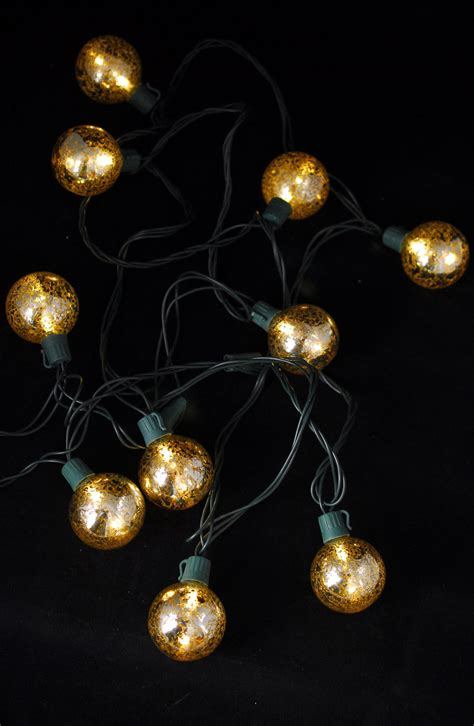 mercury glass globe string lights 10ct 9ft green cord