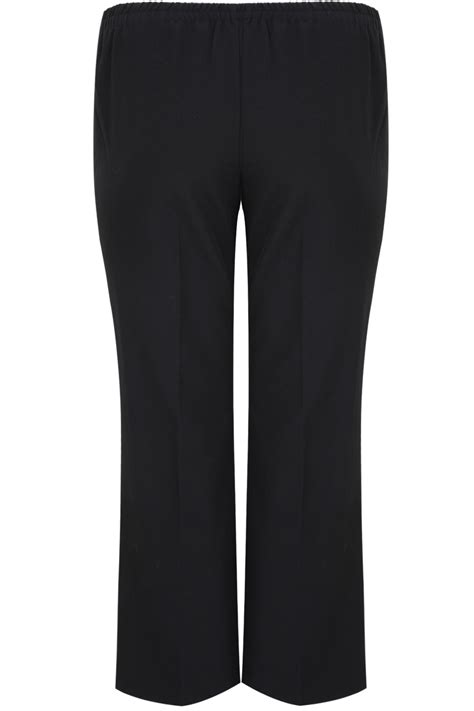 Center Image In Div Black Classic Leg Trousers With Elasticated