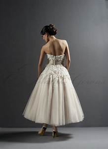 looking elegant with strapless tea length wedding dresses With strapless tea length wedding dress
