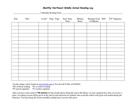 Reading Log For High School Students Template by Middle School Reading Logs Monthly Northeast Middle