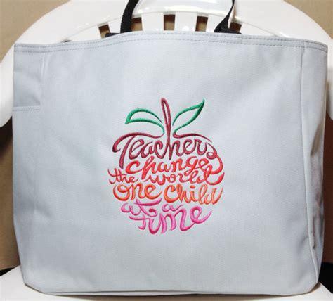 machine embroidered tote bag teacher