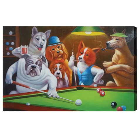 dogs playing pool oil painting elite home gamerooms