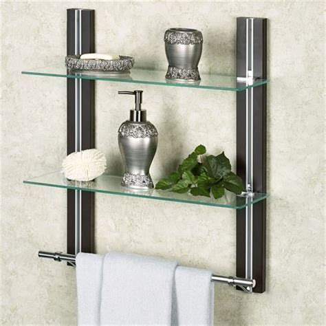 Bathroom Wall Shelves With Towel Bar by Two Tier Glass Bathroom Shelf With Towel Bar