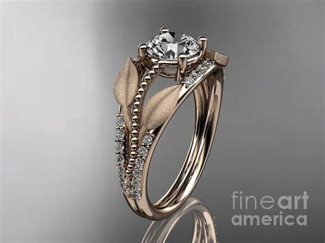 rose gold diamond leaf and vine wedding ring engagement ring jewelry by anjays designs rose
