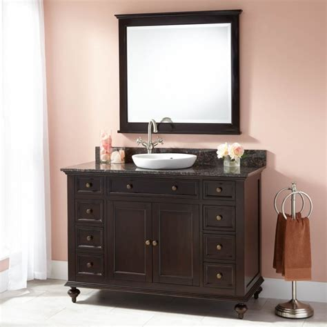 """Early 1900's french flowered vanity with tilting mirror and glove box that can be attached with enclosed screws. 48"""" Keller Mahogany Vanity for Semi-Recessed Sink - Dark ..."""