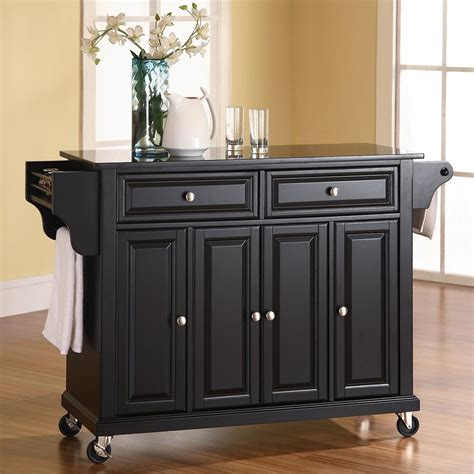 rolling islands for kitchen shop crosley furniture black craftsman kitchen island at lowes com