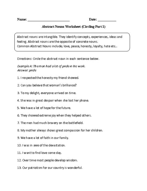 abstract nouns worksheets grade 3 worksheets for all