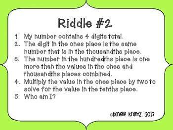 decimal place  riddles   love math teachers