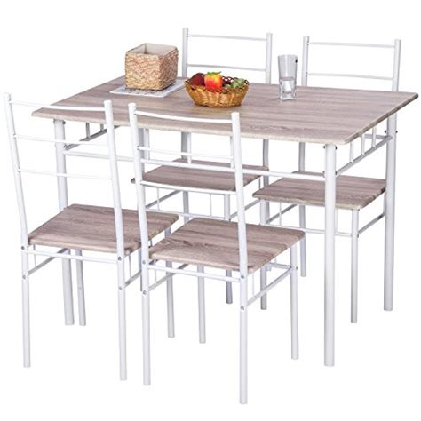metal kitchen table chairs merax 5 pcs wood and metal dining set table and 4 chairs